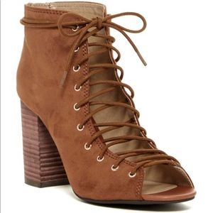 Tan Lace Up Open Toed Heeled Booties size 10